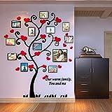 QWUHEW Marco acrílico Infantil 3D Árbol genealógico Cristal acrílico Personalizado Corazón Rosa Árbol genealógico Marco de Fotos Pegatinas de Pared Decoración para el hogar
