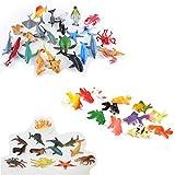 BIEE,Ozean Meerestiere, 48 - teiliges Mini Meereslebewesen Spielzeug Set, ValeforToy Plastik Unterwasser Meerestiere Lernspielzeug für Jungen Mädchen Kinder Kleinkinder Party Tasche Stuffers, Geschenk, Preis, Piñata, sensorisches Spielzeug