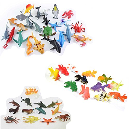re, 48 - teiliges Mini Meereslebewesen Spielzeug Set, ValeforToy Plastik Unterwasser Meerestiere Lernspielzeug für Jungen Mädchen Kinder Kleinkinder Party Tasche Stuffers, Geschenk, Preis, Piñata, sensorisches Spielzeug (Meer Kreatur Kostüm)