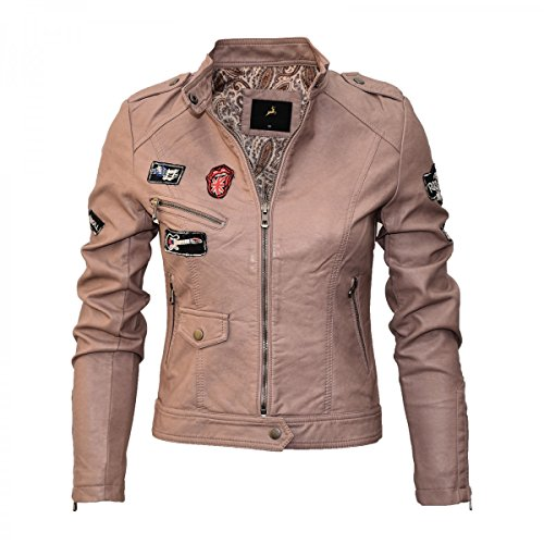 Damen Lederjacke in 5 Farben Rock 'n Roll Style 2516 Vegan Leder, Größe:42;Farbe:Altrosa
