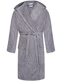 69742acd89 Unisex 100% Egyptian Cotton Bathrobe Terry Towelling Hooded Dressing Gown  Steel Grey