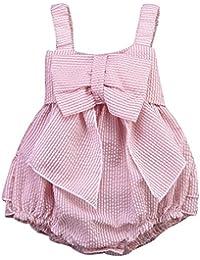 El bebé Recién Nacido Ropa de la Blusa,AZXES,Vestido el verano para Niñas o bebé de la playa,Color Rosa
