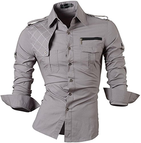 jeansian Homme Chemises Casual Shirt Tops Mode Men Slim Fit 8371 gray