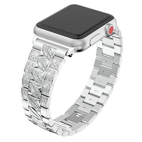 Beisoug Luxury Crystal Metal Uhrenarmband-Armband für Apple Watch Serie 1/2/3 38mm