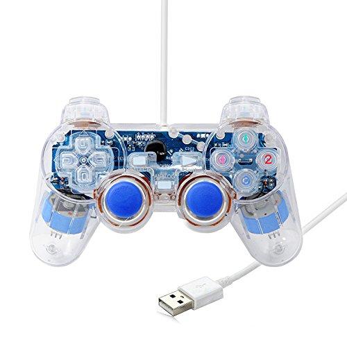 QUMOX Claro Doble Vibración USB Joystick del controlador del juego para PC portátil
