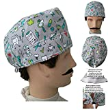 Scrub hat theatre. DENTAL INSTRUMENTS for Short Hair with sweatband ajutable to your liking. Handmade. Surgeon, Nurse, Dentist, Doctor