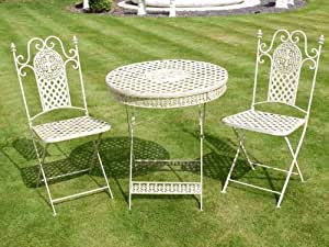 French ornate cream wrought iron metal garden table and for Table jardin beauty