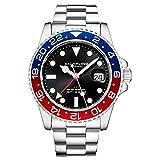 Stuhrling Original - Bracelet en Acier Inoxydable pour Homme, Montre GMT, Double Fuseau horaire -...