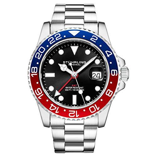 Stuhrling Original - Bracelet en Acier Inoxydable pour Homme, Montre GMT, Double Fuseau horaire - Date de réglage Rapide avec Couronne vissée, résistant à l'eau jusqu'à 10 ATM (Blue/Red)