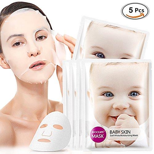 Gesichtsmaske, Tuchmasken, Facial Mask, Peel off maske, Hyaluronsäure Serum Gesicht masken, Anti-Aging Gesichtspflege, Linien und alle Alterserscheinungen werden drastisch reduzier für Haut, 5 Sheets (Hyaluronsäure Gesichtsmaske)