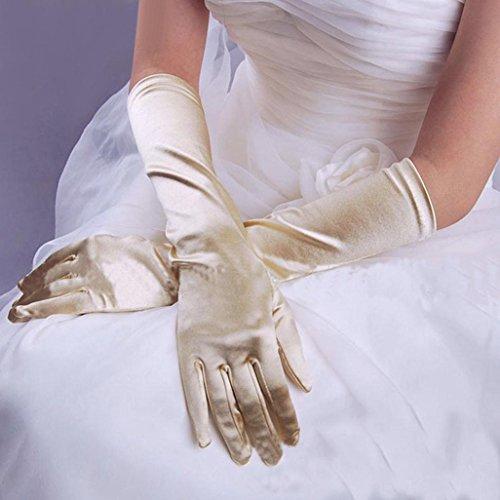WensLTD Clearance Damen Satin Lange Handschuhe Opera Hochzeit Brautschmuck Abend Party Ball Kostüm Handschuhe, Beige, Einheitsgröße