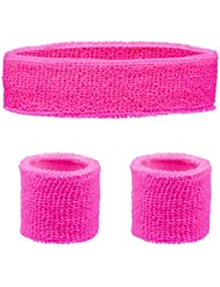 HEADBAND & WRISTBANDS SET - NEON 80S FUN RUN TEAM BUILDING EVENT FANCY DRESS