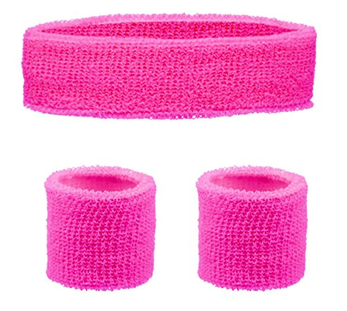 HEADBAND & WRISTBANDS SET - NEON 80S FUN RUN TEAM BUILDING EVENT FANCY DRESS (Pink)