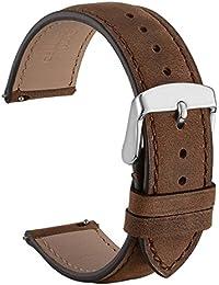 WOCCI - Correa de reloj de liberación rápida para hombre, de cuero suave de ante, estilo vintage, 18 mm, 20 mm, 22 mm