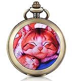 Infinite U Orologio da taschino meccanico con fotografica quadrante bianco numeri romani in lega la madre di gatto e il piccolo gatto due catene per donna uomo