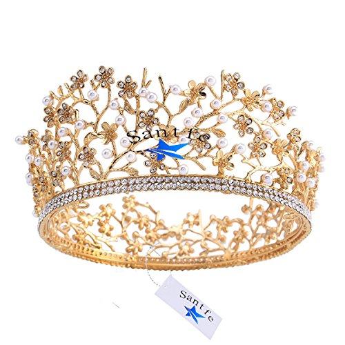 santfe Retro Gold Hochzeit Brautschmuck Queen Krone Tiara Strass Kristall Perle Festzug Party Haarband (Gold Queen's Tiara)