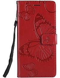 DENDICO Coque Galaxy J8, Papillon Imprimé PU en Cuir Coque Magnétique Portefeuille TPU Étui Housse pour Samsung Galaxy J8 - Rouge