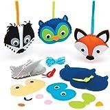 Kits de costura de adornos de animales del bosque - Juego creativo que los niños pueden crear, decorar y exhibir como manualidades otoñales (pack de 4).