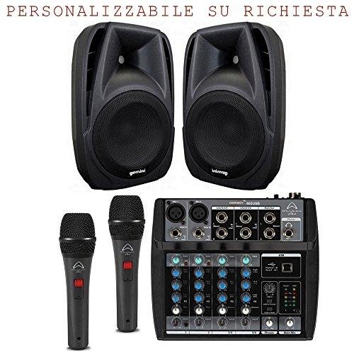 Karaoke Bundle 802 impianto audio per bar, pub, coppia diffusori amplificati 500w...