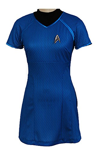Fuman Star Trek Into Darkness Marcus Shirt Kleid Uniform Cosplay Kostüm Blau (Kleider Trek Star)