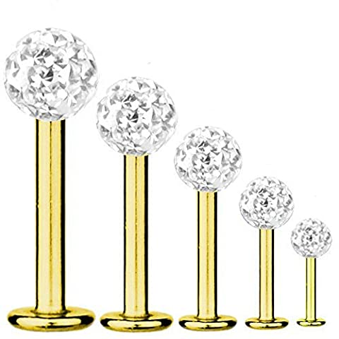 Labret Bar Tragus Piercing Gold Plated Titanium 1,2 mm, Multi Crystal Ball White, Length:6.0 mm;Ball:4.0 mm