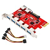 MoKo PCI-E 7-Ports USB 3.0 Expansion Card Adapter, PCI-Express Card with 5 External Port, 2 Internal USB 3.0 Interface, 15-Pin Power Connector, Compatible for Windows XP/Vista/7/8/10 - Red & Silver