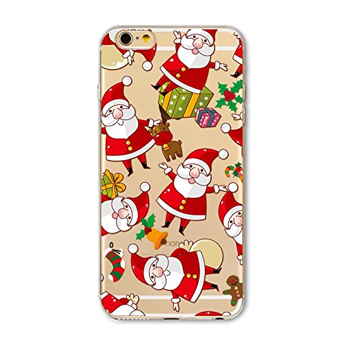 Christmas Hülle iPhone 7 Plus / iPhone 8 Plus LifeePro Weihnachts Cover Ultra dünn Weiches Transparent TPU Gel Silikon Handy Tasche Bumper Case Anti-Scratch Back Cover Full Body Schutzhülle für iPhone Santa Claus 2