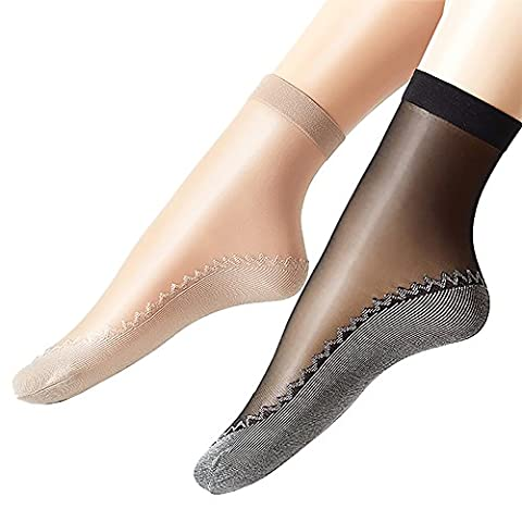 Ueither Women's 12 Pairs Silky Anti-Slip Cotton Sole Sheer Ankle