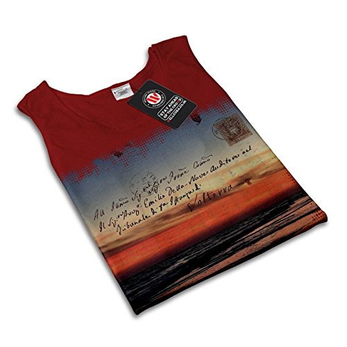 Sommer Sonnenuntergang Meer Urlaub Ferien Damen Schwarz S-2XL Muskelshirt   Wellcoda Rot