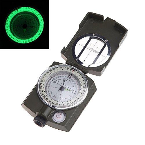TOOGOO(R) Portable militaire armee geologie Lensatic Compas boussole prismatique Multifonctionnel exterieur Camping Outil d'exploration avec lumiere fluorescente et sac de transport