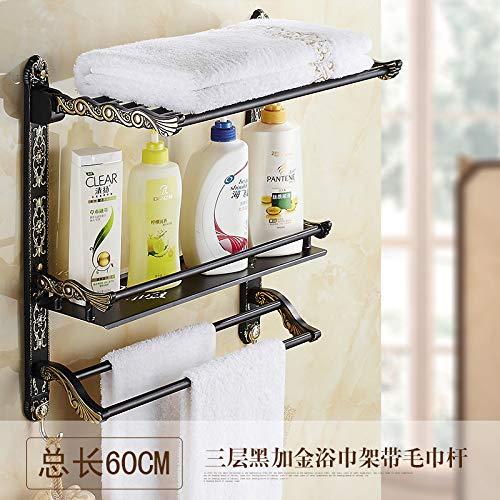 Hlluya Toallero Plegado de antigüedades toallero baño Viejo Negro Construido en Antiguos Estante toallero baño con Doble Barra Doble Pared, Pintados de Oro Negro 3-60cm