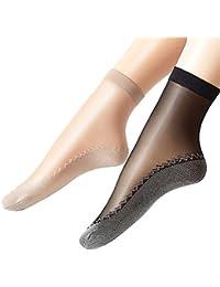 Ueither - 12 paia di gambaletti velati da donna, alla caviglia, con soletta in cotone antiscivolo e punta rinforzata