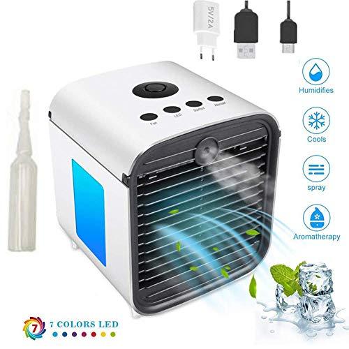Mini Air Cooler Luftkühler, Tragbare USB Mobile klimageräte Air Conditioner - Tragbare Kühler 7 Farben 3 Lüftergeschwindigkeiten Mobile Klimageräte Luftbefeuchter für Home Office Auto im Freien