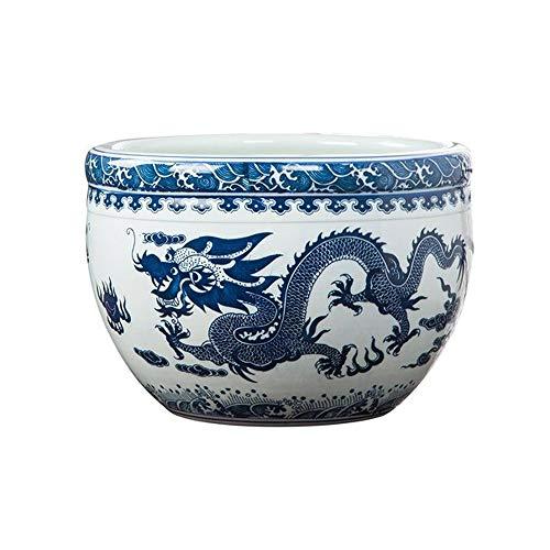 KEHUITONG Keramik-Ornamente, Fischtanks, blau-weiße Goldfisch-Schildkröten-Töpfe, Schlafschalen, Lotusschalen, klein, mittel, groß, ohne Sockel Vase im chinesischen Stil, (Size : Large)