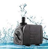 amzdeal Pompa Acqua 25W 1200L / Ora Pompa Acquario Fontana Sommergibile di Circolazione per Presepe, Laghetto, Pesce Stagno ECC. (25W 1200L)