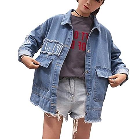 Brinny Cool BF Student Veste en denim Brodé Lâche Revers Collar Longue Jacket Jeans Blouson Parka Manteau Splice, Bleu - L