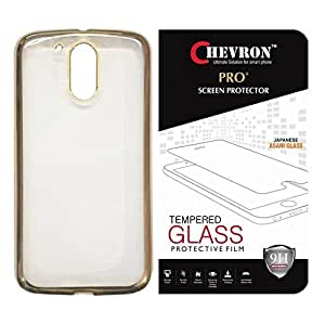 Chevron Back Case Cover for Moto G Play, 4th Gen/ Motorola Moto G4 Play (Transparent/Gold Border) With Pro+ 0.3m Tempered Glass
