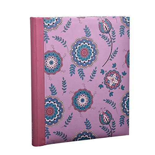 Arpan Fotoalbum, selbstklebend, groß, Spiralbindung, 20Blatt/ 40Seiten, buntes Blumenmotiv auf rosa Hintergrund