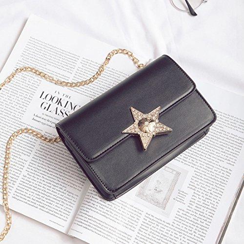 Damen Fashion Schulter Oblique cross-style Damen fünfzackigen Stern Kette kleinen Platz Tasche schwarz