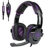 Sades SA930 Stereo Kopfhörer mit Mikrofon-Lautstärkeregler für Neue Xbox ein PS4 PC Laptop Mac Tablet Smartphone von Schwarz / Violett