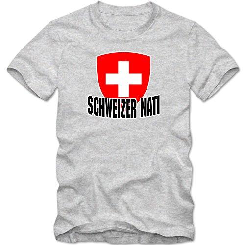 Schweiz EM 2016 #4 T-Shirt   Fußball   Herren   Trikot   Schweizer Nati   Nationalmannschaft © Shirt Happenz Graumeliert (Grey Melange L190)