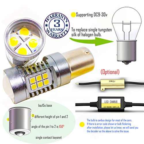 Price comparison product image Wiseshine baz15s led auto bulb DC9-30v 3 years quality assurance (pack of 2) baz15s 22smd 3030 Yellow