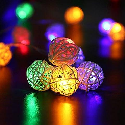 Fairy Lights, Rattan ball light 16.4ft 40 LEDs Battery Powered for Bedroom Christmas Wedding Party Garden,