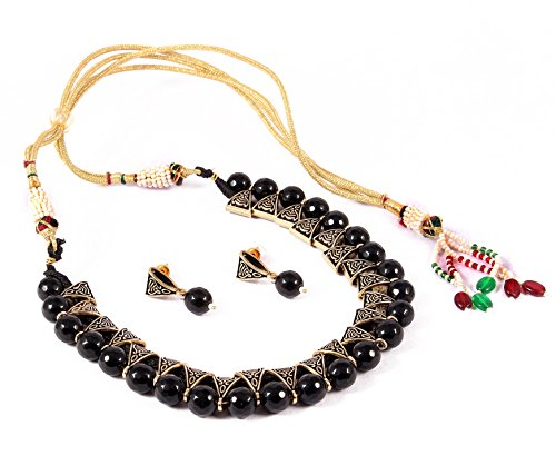 SIMAYA FASHIONISTA Black Beaded Necklace Set for Women
