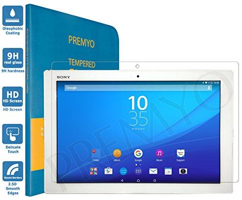PREMYO Sony Xperia Z4 Tablet Panzerglas. Xperia Z4 Tablet Displayschutzfolie mit Härtegrad 9H und abgerundeten Ecken 2,5D. Z4 Tablet Schutzglas