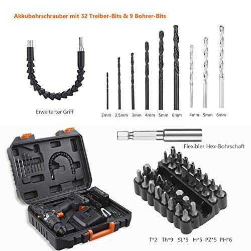 Tacklife Akku-Schlagbohrschrauber 18V / 2 Ah, max. 35 Nm, 2 Gang, 43-tlg. Set - 2