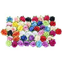 Merssavo 50 Rosas Multicolor Floral Pequeño Para Flor de Tocado, Adornar Pequeños Accesorios Artículo,