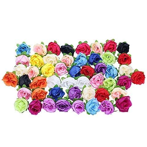 50Pcs 3.5cm Silk Mix Color Artificial Rose Flower Heads Buds Craft for Party Wedding Decor (Random Colour