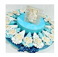 Idea Regalo - Sindy Bomboniere 8054382130 Torta Bomboniera con Albero della Vita Sacra Famiglia, Resina, Azzurro, 30 X 30 X 5 cm