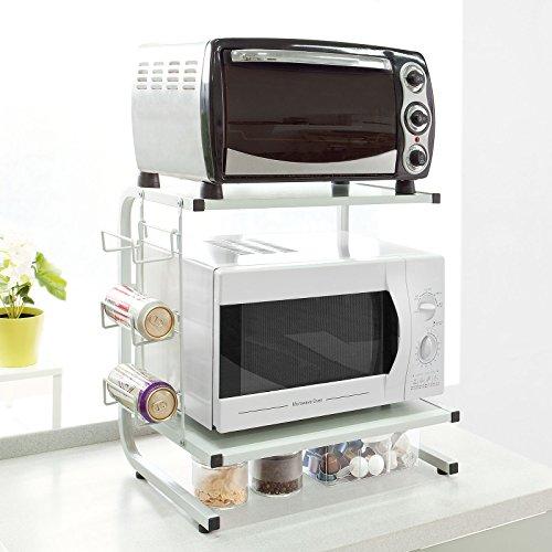 SoBuy® Mensola per forno a microonde, Mensola da cucina,Mensola in metallo e legno.bianco,FRG092-W,IT
